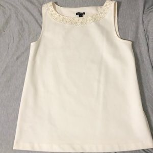 Ann Taylor cream top with pearls size small
